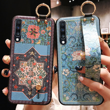 for Etui Samsung A50 3D Emboss Vintage Flower Stand Holder TPU Wrist S