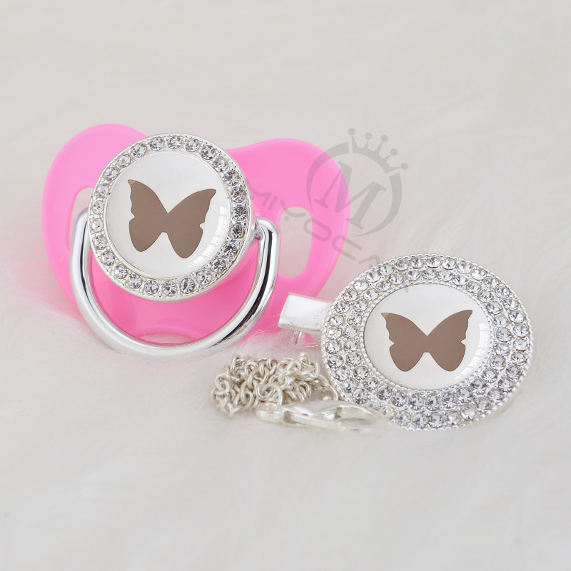MIYOCAR Lovely Silver Butterfly Beautiful Gold Bling Pacifier And Pacifier Clip BPA Free Dummy Bling Elegant Design GBF-1