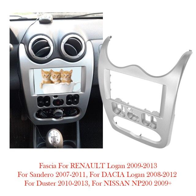Ajuste para RENAULT Logan SANDERO Dacia Duster doble 2 Din Marco de salpicadero para coche Radio montaje en Panel Kit de instalación de tablero