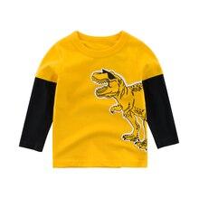цена на Kids Boys T Shirts Long-Sleeve Tees Animal Children Cartoon Cotton Print Dinosaur Autumn Spring Clothing Clothes Girls Toddler