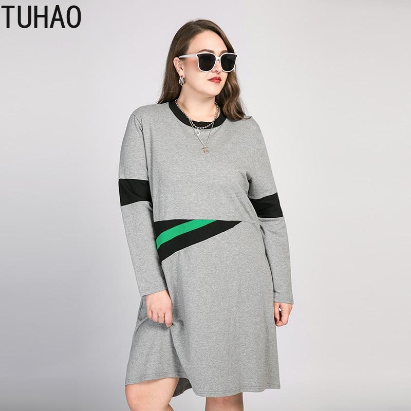 TUHAO 2020 весеннее женское модное Повседневное платье серого цвета с длинным рукавом, офисное платье для мамы и дочки, Vestidos 8XL 7XL, большие размер...