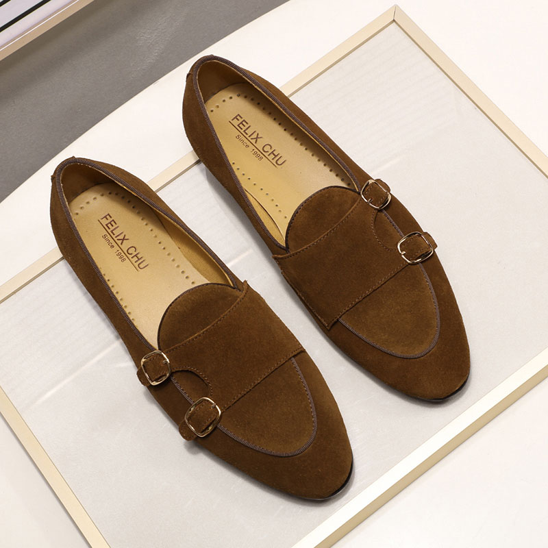 FELIX CHU Mens Suede Loafers Gentlemen Wedding Party Casual Slip On Shoes Black Brown Green Monk Strap Men Dress Shoes Leather