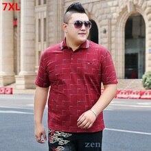 Summer men's plus fat XL style casual lapel lattice polo shirt 280 pounds extra large Paul shirt 7XL 6XL
