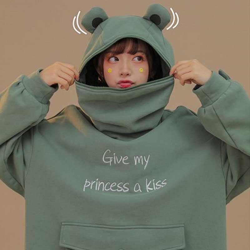 NiceMix Women Autumn Thick Loose Sweatshirt Harajuku Letters Printed Lovely Frog Casual Hooded Hoodies Pullover Female Thicken C 1