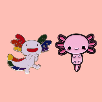 Rainbow Colors Yay Happy Axolotl Enamel Brooch Pins Badge Lapel Pins Alloy Metal Fashion Jewelry Accessories Gifts image