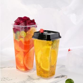 50pcs Square transparent disposable milk tea cups favors 500ml 700ml large juice fruit tea ice cold drinks plastic cups with lid