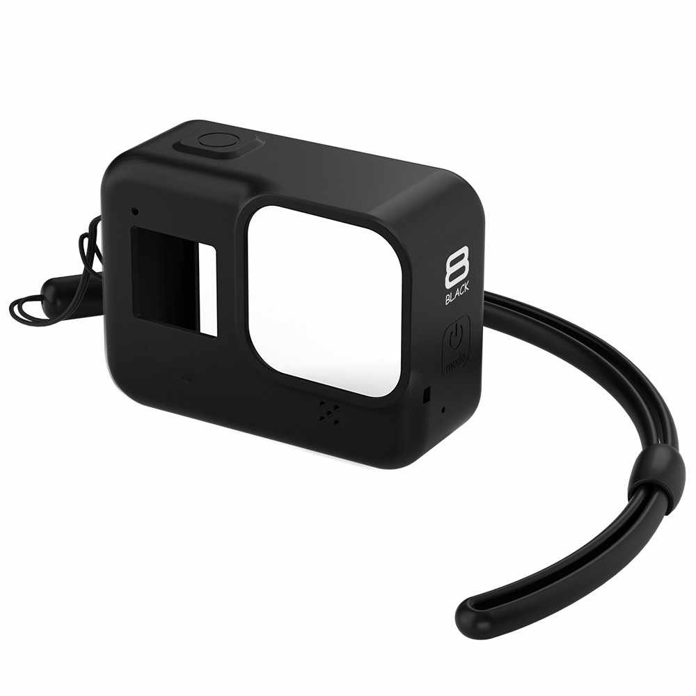 Protective Silicone Case for GoPro Hero 8 Black Tempered Glass Screen Protector Film Lens Cap Cover for Go Pro 8 Accessory