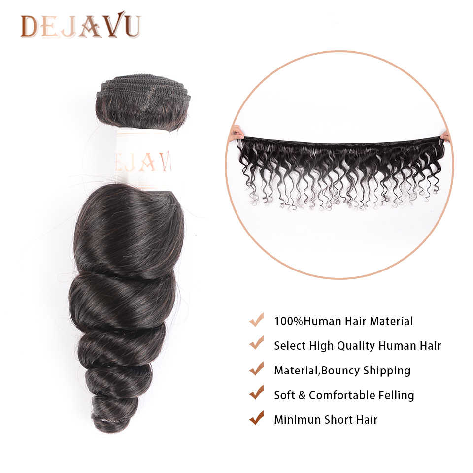 Dejavu onda suelta mechones de pelo brasileño de la armadura del mechones pelo no Remy mechones 3 Paquete de alta relación de la extensión del pelo Cabelo
