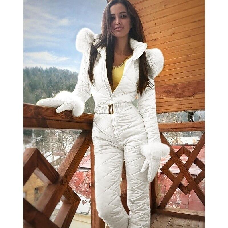 Winter Jacket Women Warm Ski Suit Fashion Ski Jacket Coat Hoodie Outdoor Sports Jumpsuit Zipper Multicolor Ski Suits Snowboard