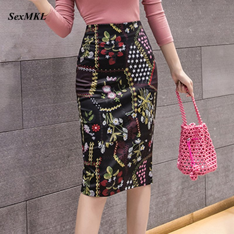 Sexy Floral Print Skirt Women 2020 Summer Korean Fashion High Waist Office Ladies Pencil Skirts Casual Knee-Length Jupe Femme