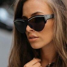 Gafas de sol de ojo de gato a rayas de una pieza para mujer 2020, gafas de sol planas negras sin montura de lujo a la moda para hombres, gafas Vintage