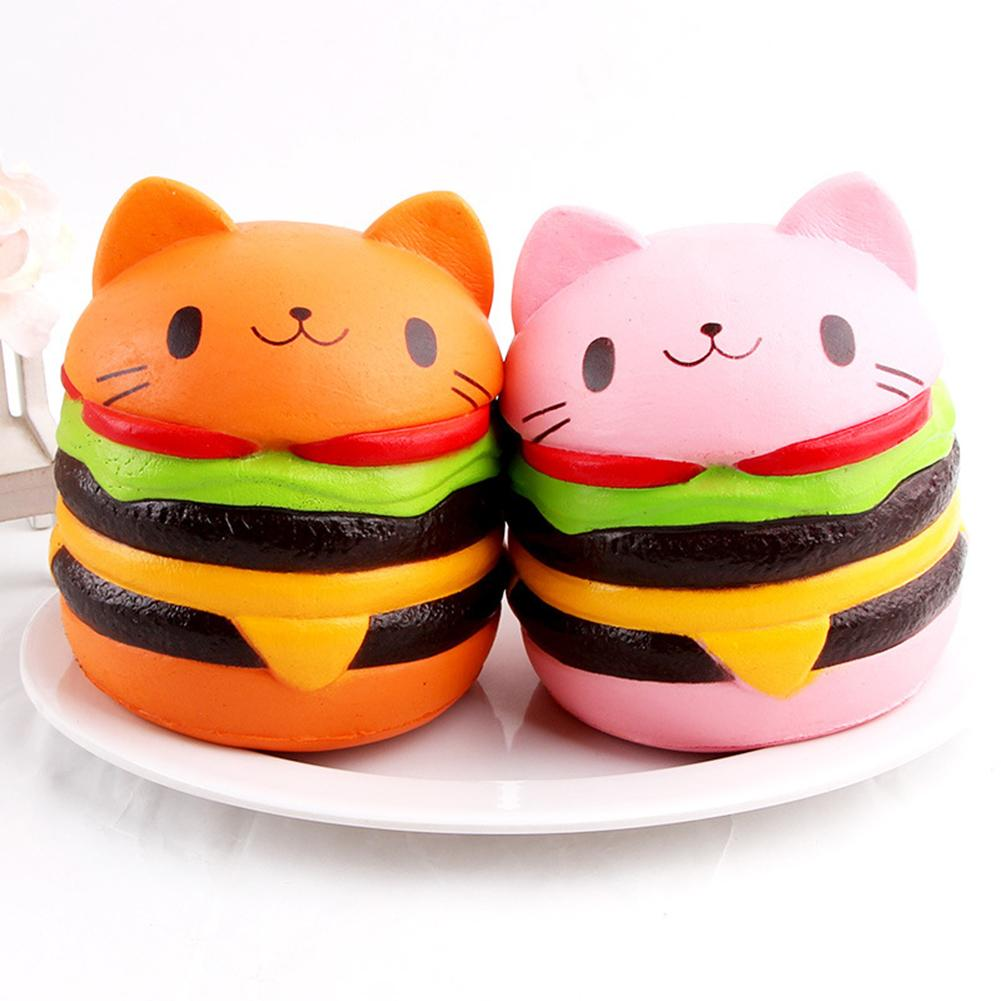 4.5inch Slow Rising Cute Squishys Cat Hamburger Bread Toy Stress Relief Gift For Children