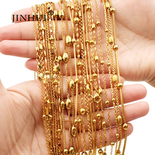 цена на Necklace Saudi Arabia Trendy link chain for women wedding Gold Necklace length 45cm/50cm rope chain Men in jewelry unisex gifts