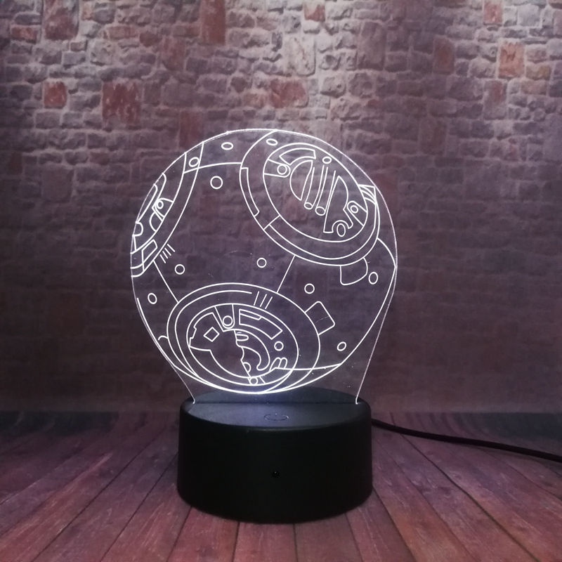 Cool 3D Illusion LED Nightlight 7 Colors Changing Light Star Wars BB-8 Droid Robot action & toy figures 4