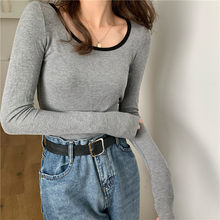 Hzirip Basewear Minimaliste Haut Pour Femme De Base OL 2021 nouvelle Mode Femme Coréenne Décontracté Filles Sexy Mince Manches longues T-shirts