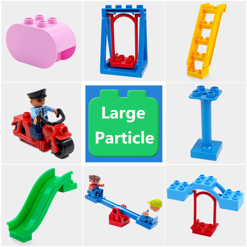 Diy Building Blocks Accessories Compatible With Duploed Figures Motor Seesaw Cylinder Slippery Ladder Swing Part Toys For Baby Car phone