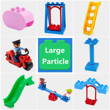 Diy Building Blocks Accessories Compatible With Duploed Figures Motor Seesaw Cylinder Slippery Ladder Swing Part Toys For Baby(China)