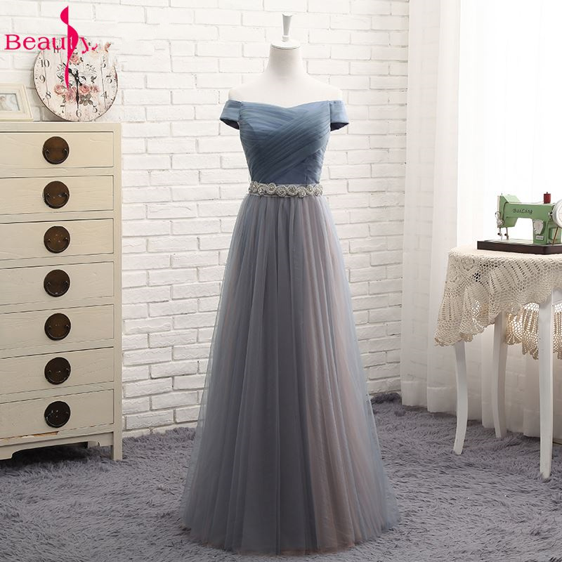 Beauty-Emily Hot Tulle V Neck Evening Dresses Long For Women 2020 Elegant Formal Party Dress A-line Prom Gown Plus size Vestido 3