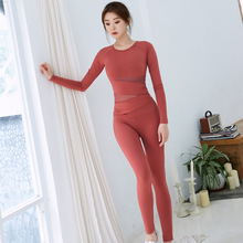 New womens sportswear, fashionable long sleeves, high elastic, sweat absorption quick drying fitness dance sportswear