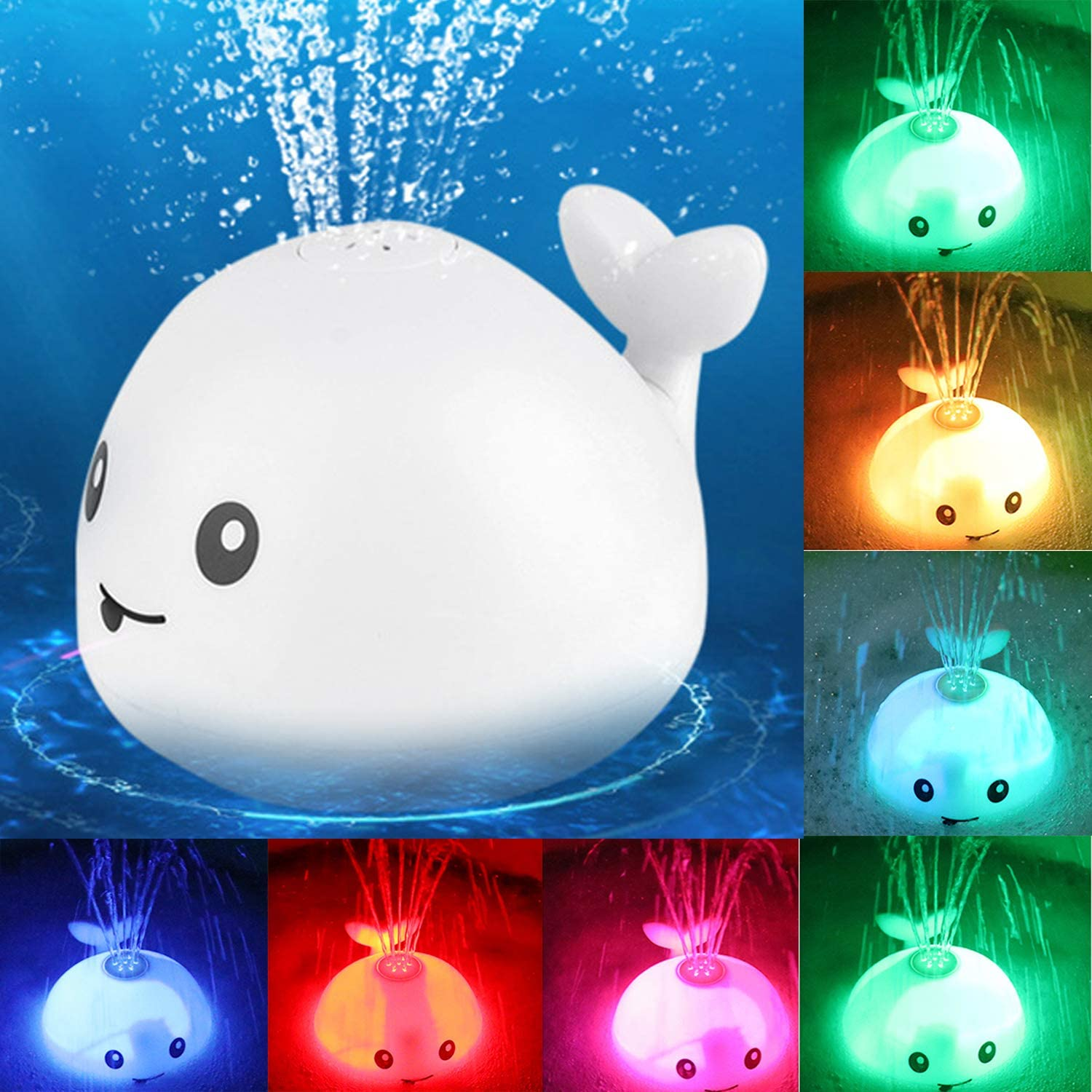 Baby Bath Flashing Light And Spray Water Whale Toys Water Reaction Flashing Baby Bathroom Toys Lamp Bath Toys As Kids Gift