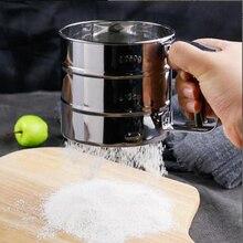 Tamiz de harina de malla de acero inoxidable, cerrojo de harina, tamiz Manual para glaseado de azúcar, tamiz de cocción mecánico, agitador, utensilios de cocina
