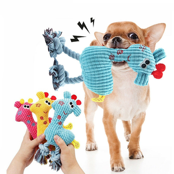 Interactive Squeaky Puppy Toy for Small Dogs Cute Giraffe Soft Fleece Chew Pet Doy Toy Bite-Resistant Training Toy Pet Supplies image