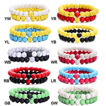 2Pcs/Set Couples Distance Bracelet Classic Natural Stone White and Black Yin Yang Beaded Bracelets for Men Women Best Friend Pop(China)