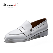 Loafers Women Shoes Spring Comfortable Slip-On Flat Genuine Calf Lady Donna-In Soft Classic
