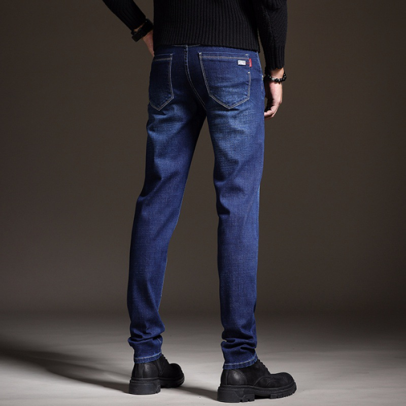 New Style Men's Jeans Autumn Loose Straight Spring And Autumn Elasticity Slim Fit Trend Autumn And Winter Trousers