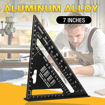 Triangle Ruler 7inch Aluminum Alloy Angle Protractor Speed Metric Square Measuring Ruler For Building Framing  Tools Gauges woodworking ruler square triangle ruler for speed square triangle angle protractor laser engraving carpenter measuring tools
