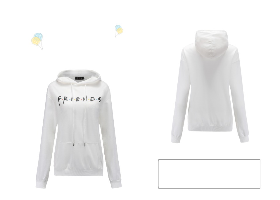Women Friends Hoodies Harajuku Letters Print Pocket Warm Thicken Pullovers Hip Hop Loose Solid Female Sweatshirts 13