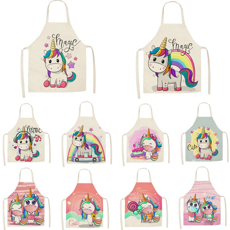 1Pcs Kitchen Apron Cartoon Unicorn Music Printed Sleeveless Cotton Linen Aprons for Men Women Home Cleaning Tools WQTF01