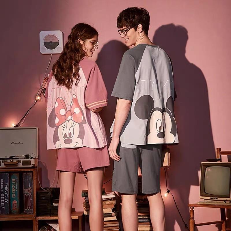 2020 Summer Cotton Cartoon Mickey Short Sleeved With Shorts Couple Pajamas Pjs Women Man Pyjamas Sets Home Clothes Pijama Mujer