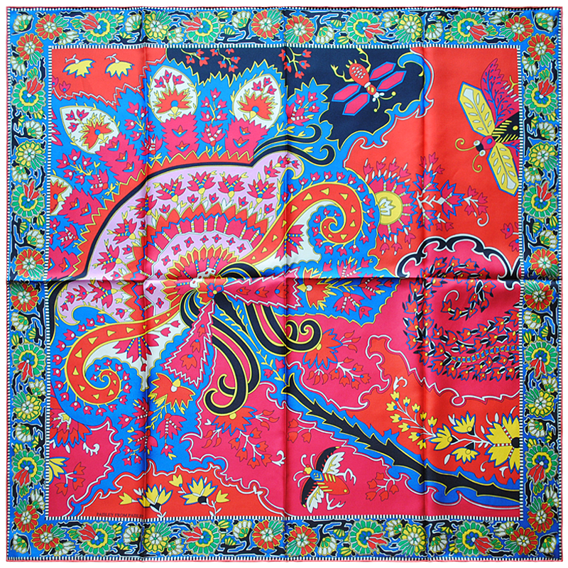 "Image 2 - HuaJun 2 Store Super Eye catching color matching ""Paisley from Paisley"" 90 silk square scarf Twill inkjet scarf Hand rolled-in Women's Scarves from Apparel Accessories"