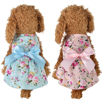 Pet Spring Summer Cotton Clothes For Dog Girls Small Medium Dog Cute Princess Skirt image
