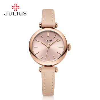 JULIUS Einfachheit frauen Kleid Uhr Klassische Lederband Uhren Schlanke Damen Japan Quarz Movt High-End Luxus Reloj JA-1018