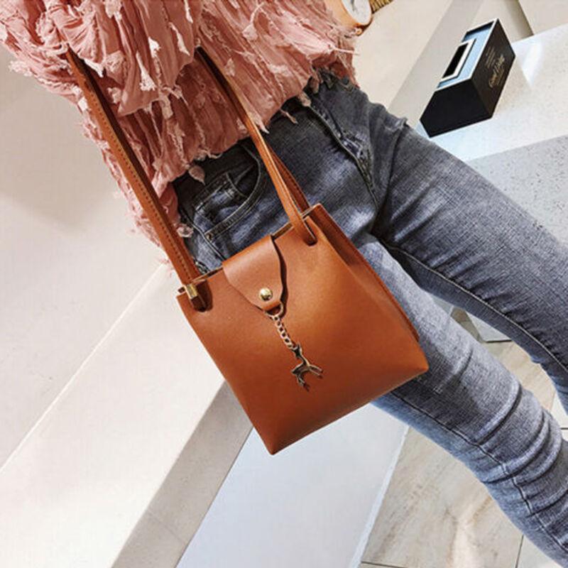 Solid Fashion Women Leather Small Shoulder Bag Handbag Lady Deer Spliced Collision Hasp Cross Body Bag Women Small Shoulder Bags