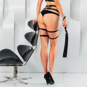 Image 5 - PU Leather Sword Belt Waist Garter Handmade Body Bondage Sexy Leg Suspenders Restraints Harness Erotic Stockings Boogeaneel