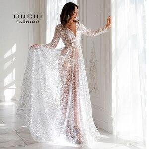 Image 3 - Oucui Robe De mariée élégante, en paillettes, Illusion brillante blanche, style Boho, Robe De mariée transparente, style bohème, 2020