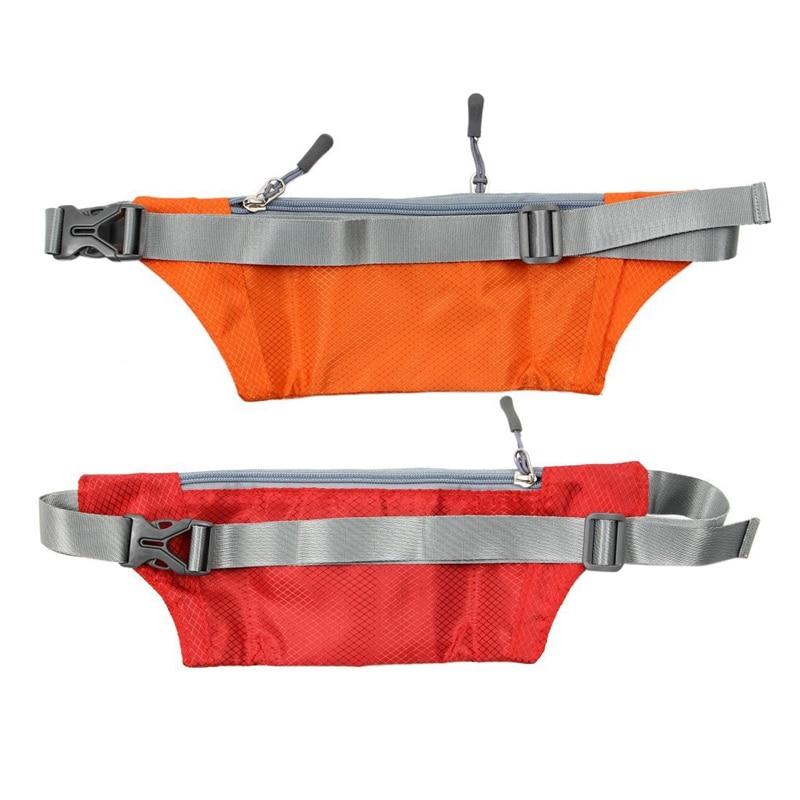 2Pcs Unisex Running Bum Bag Travel Handy Hiking Sport Fanny Pack Waist Belt Zip Pouch Orange & Red