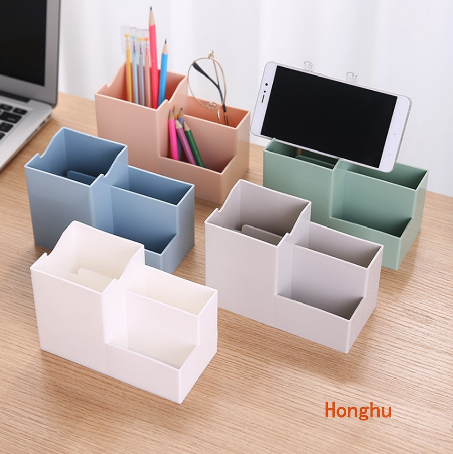 New 4 Grids Square Pen Pencil Holders Container Desk Organizer Stand Stationery Storage Box Office Accessories