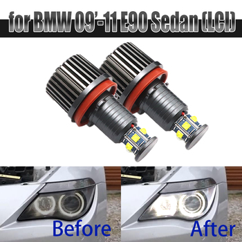 6000K White 120W 6 LED 3000LM Car Angel Eye Marker Headlights Bulbs Lamps for BMW 2009-2011 3 Series E90 Sedan (LCI) image