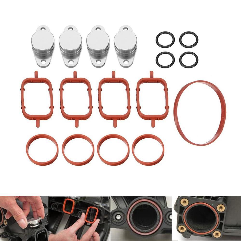 4 pçs 22 mm redemoinho aleta substituições remoção espaços em branco juntas manifold alumínio redemoinho aba para bmw m47 acessórios do carro