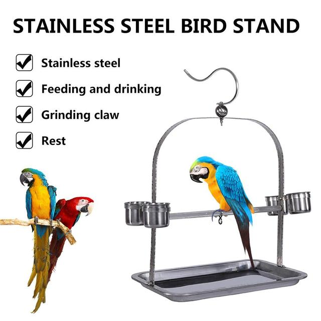 Stainless Steel Parrot Bird Stand Bird Cage Feeder Rest Claw Rack Shelf Bird Cage Feeder Rest Claw Toy Rack Parrot Bird Perch 5