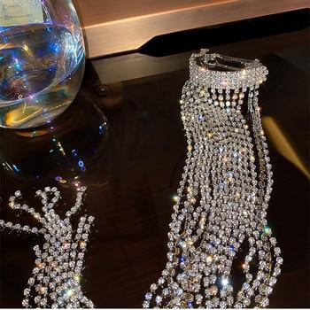 FYUAN Shine Full Rhinestone Hairpins for Women Bijoux Long Tassel Crystal Hair Accessories Wedding Banquet Jewelry 3