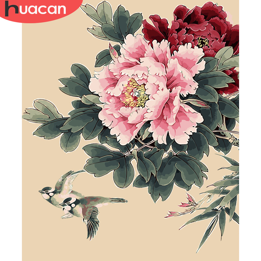 HUACAN Pictures By Numbers Peony Flowers HandPainted Coloring Drawing Kits Canvas Oil Painting DIY Home Decoration Gift SZHC712