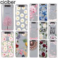 Funda de teléfono ciciber flor ciruela flor para Samsung Galaxy A50 A70 A10 A80 A40 A30 A20 A60 A20e suave TPU silicona de Coque