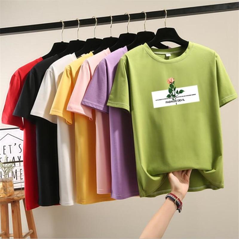 High Quality Summer Hot Sale Flower Print Short Sleeve Tshirt Women O-Neck Fashion Clothes Female Green Red Tee Shirts