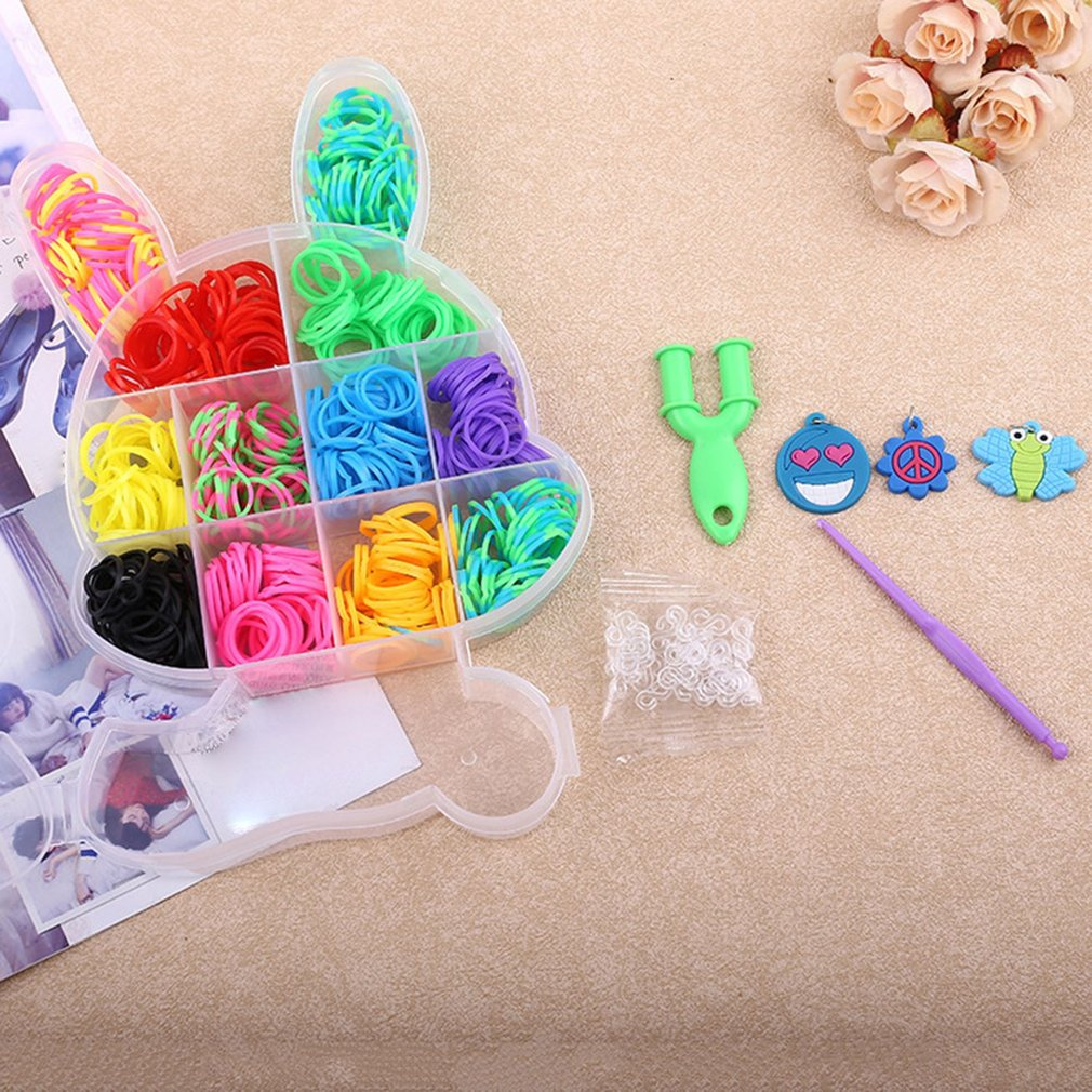 Rabbit Boxed Loom Band DIY Bracelet Weaving Machine Colorful Elastic Rubber Band Knitted Crafts Kit For Children