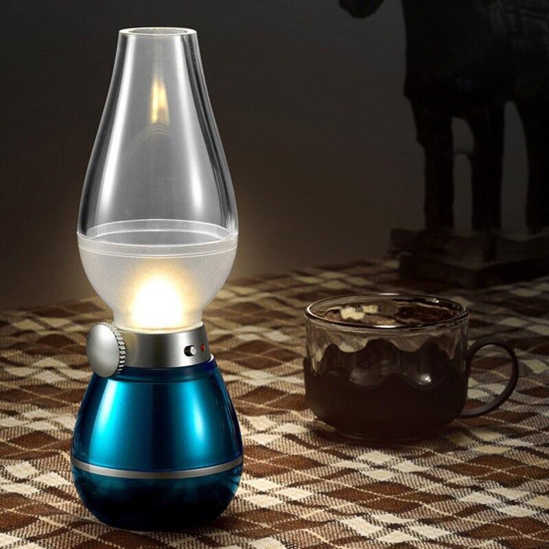 Креативный светодиодный светильник в стиле ретро с управлением на выдув, керосиновая лампа для зарядки, настольная лампа, прикроватная лампа, бутик, зарядка через usb, лампа для чтения|Ночники|   | АлиЭкспресс